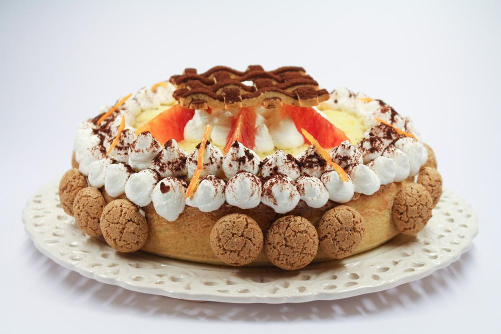 Torta Malaga arancia e amaretti
